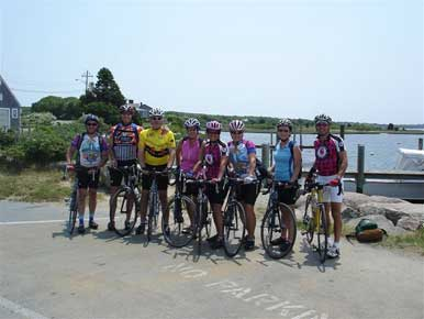 All eight of us as we cycle Martha's Vineyard.