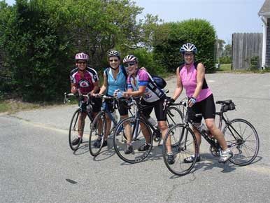 "Here I am with the three ""sistas"" on our bikes."