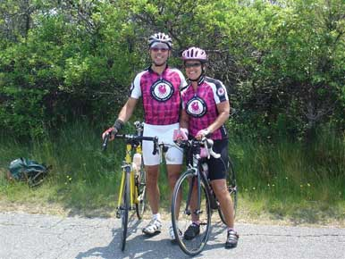 Ross and I cycling together...of course, wearing our matching    Cyclismo Classico jerseys!