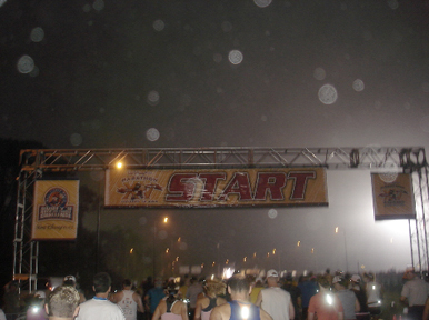 Hazy, humid, and dark at the starting line.