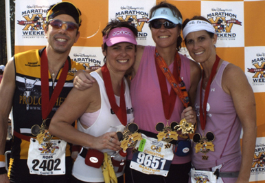 All four us after we finished the race, from left to right it is Ross,    Marion, Christine and Evette.