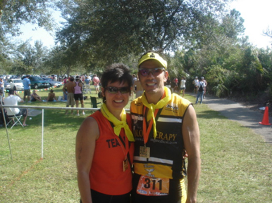 Marion and Ross post Miami Man race.
