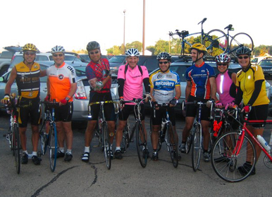Group shot before the ride – note the new plastic arm warmer!