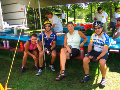 Me, Paul, Karen, Paul, Bill, and Steve taking a rest at mile 80. Starting to get much hotter and harder!