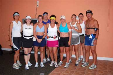 The group of us prior to the Sanibel Half Marathon. (runners only)