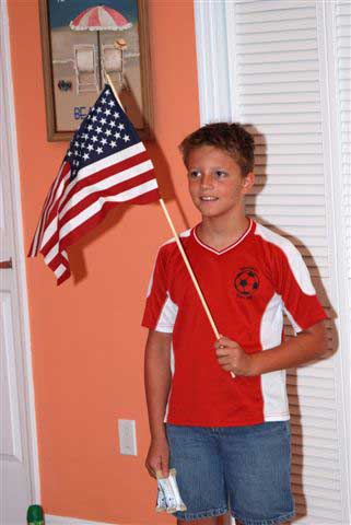 Our friend Cameron held the flag as we sang the Star Spangled Banner.